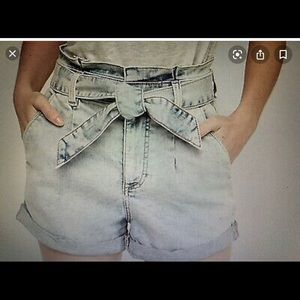 High waisted front tie denim short from Express